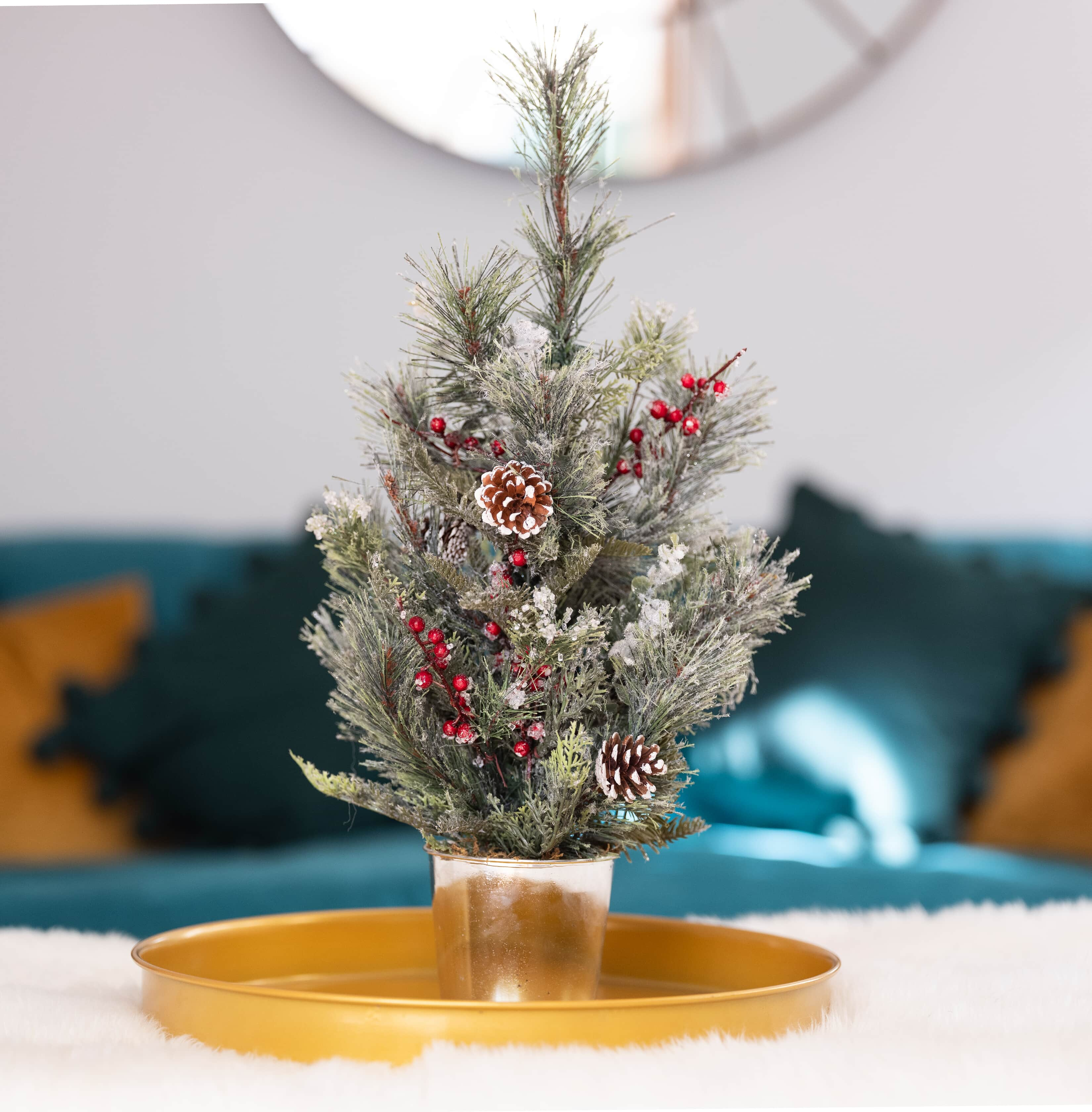 artificial mini festive cedar pine tree on gold tray